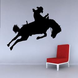 Sticker Mural Cowboy Saut Cheval - 1