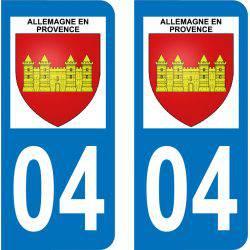Autocollant  Plaque Allemagne-en-Provence 04500