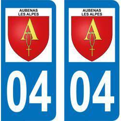 Autocollant  Plaque Aubenas-les-Alpes 04110