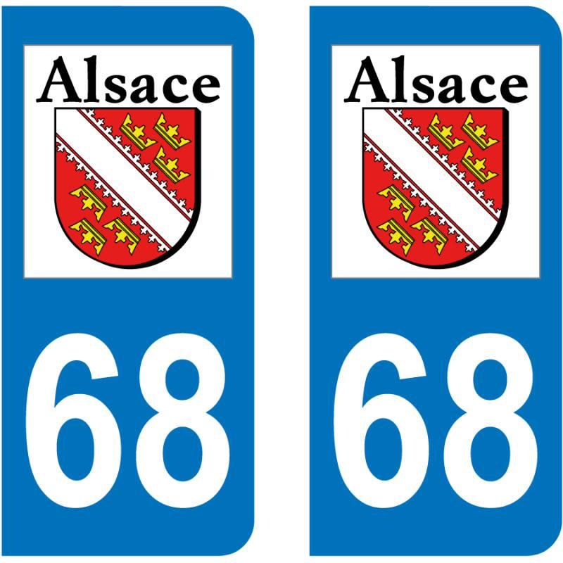 Badges, Insignes, Mascottes 68 Haut-rhin Alsace Departement Immatriculation 2 X Autocollants Sticker Auto