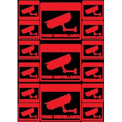 Plaquette de Stickers Alarme camera Fond Transparent - 1
