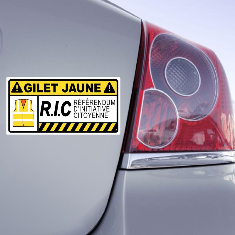 Autocollant Attention Gilet Jaune R.I.C. Référendum d'Initiative Citoyenne