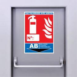 Sticker Extincteur Classe AB -EAU PULVÉRISÉE AVEC ADDITIF