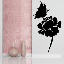 Sticker Mural Papillon Fleur - 1
