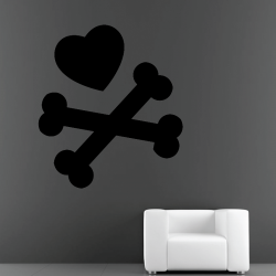 Sticker Mural Skull Cœur - 1