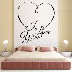 Sticker Mural Coeur I Love You