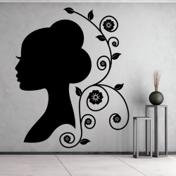 Sticker Mural Femme Floral