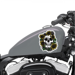 Lot De 2 Stickers Moto Sunflower Skull - 1