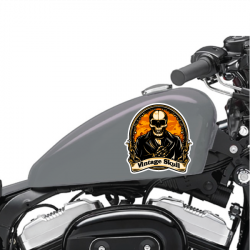Lot De 2 Stickers Moto Vintage Skull - 1