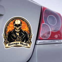 Autocollant Tête de mort vintage - 1