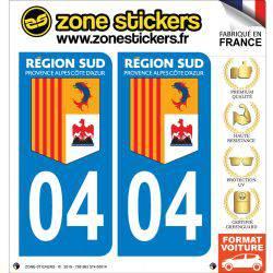 Autocollant Stickers plaque immatriculation véhicule 04 Alpes-de-Haute-Provence