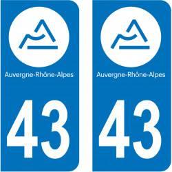 Autocollant Plaque 43 Haute Loire