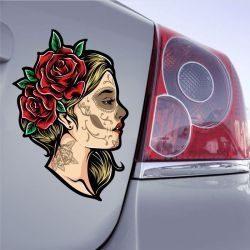 Autocollant Fille Rose SugarSkull