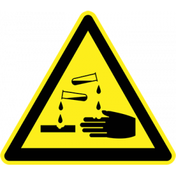 Sticker Panneau Danger Matières corrosives