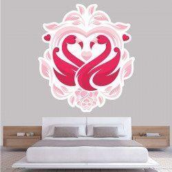 Sticker Love Flamant Rose Deco intérieur - 1
