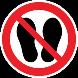 Sticker Panneau Défense D'entrer Avec Des Chaussures