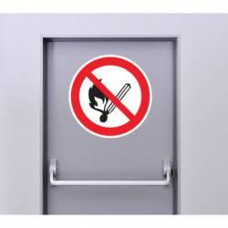 Autocollant Panneau Flamme Nue Interdite Et Défense De Fumer
