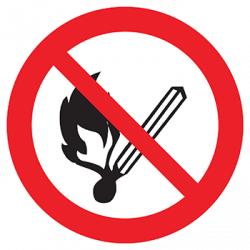 Sticker Panneau Flamme Nue Interdite Et Défense De Fumer
