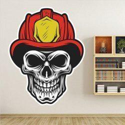 Sticker Tête de mort pompier Deco intérieur - 1