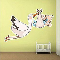 Sticker Cigogne avec bébé Deco intérieur - 1