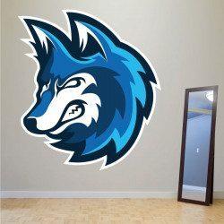 Sticker Loup Bleu Deco intérieur - 1