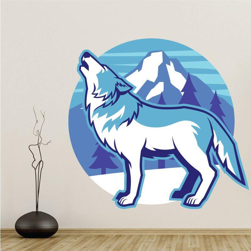 Loup meute NATURE ANIMAL Mural Sticker Autocollant d0638