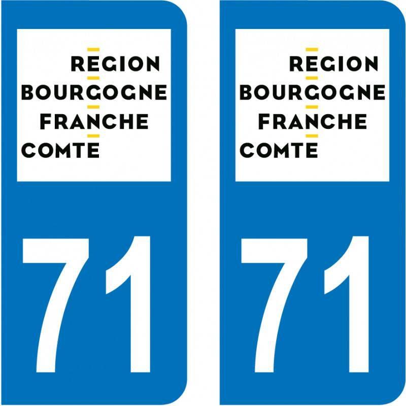 Autocollant Plaque 71 Saône et Loire