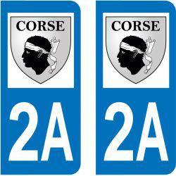 Sticker Plaque 2A Corse Du Sud Blason Corse
