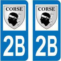 Sticker Plaque 2B Haute Corse Blason Corse