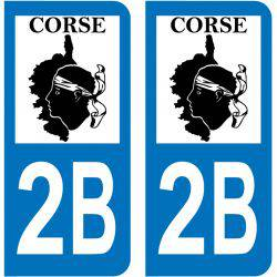 Sticker Plaque 2B Haute Corse Map Corse