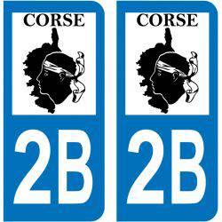 Sticker Plaque 2B Haute Corse Map Corse