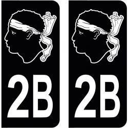 Sticker Plaque 2B Haute Corse Tête De Maure Black