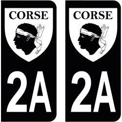 Sticker Plaque 2A Corse Du Sud Blason Black