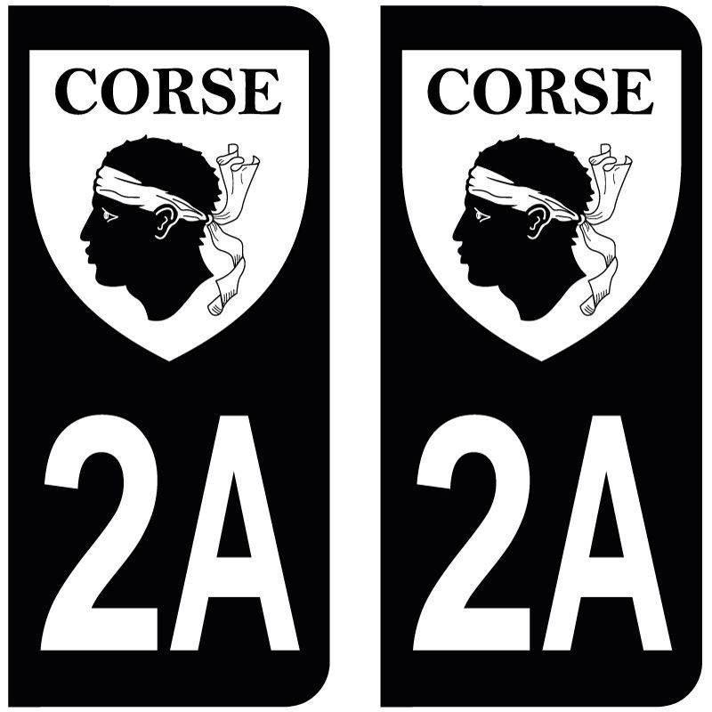 Sticker Plaque 2A Corse Du Sud Blason Black