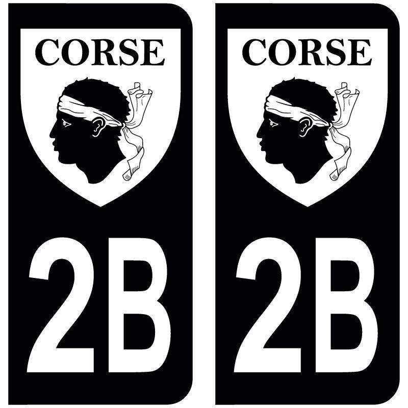 Sticker Plaque 2B Haute Corse Blason Black