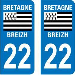 Sticker Plaque 22 Côtes d'Armor