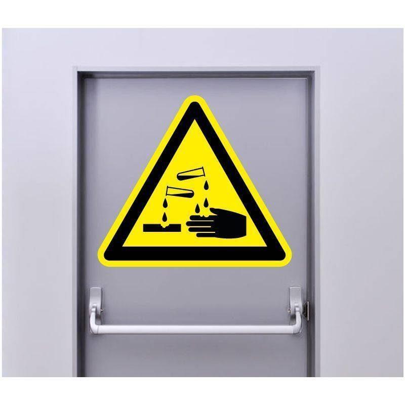 Autocollant Signalisation Panneau Danger Matières corrosives