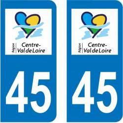 Autocollant Plaque 45 Loiret