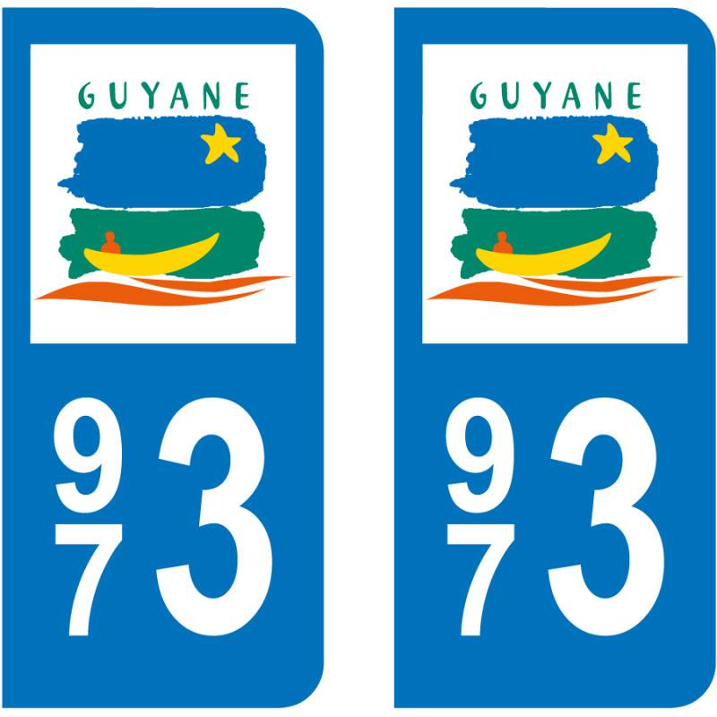 Autocollant Plaque 973 Guyane
