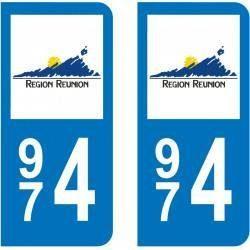 Autocollant Plaque 974 Réunion