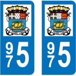 Autocollant Plaque 975 Saint Pierre et Miquelon