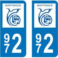 Autocollant Plaque 972 Martinique