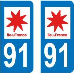 Autocollant Plaque 91  Essonne