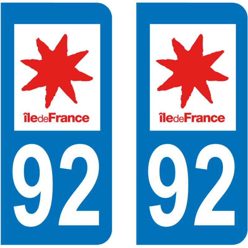 Autocollant Plaque 92 Hauts de Seine
