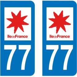 Autocollant Plaque 77 Seine et Marne