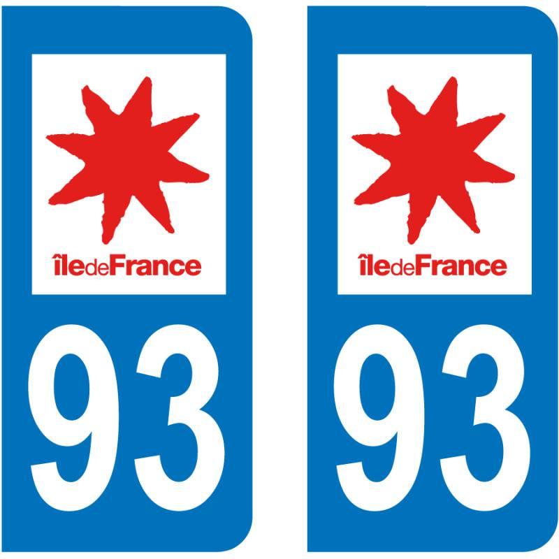 Autocollant Plaque 93 Seine Saint Denis