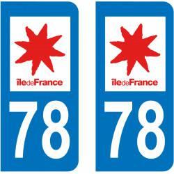 Autocollant Plaque 78 Yvelines