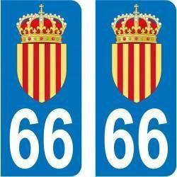 Autocollant Plaque 66 Pyrénées Orientales Blason Catalan