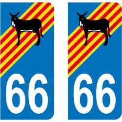 Autocollant Plaque 66 Pyrénées Orientales Catalan Burro