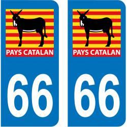 Autocollant Plaque 66 Pyrénées Orientales Pays Catalan Burro